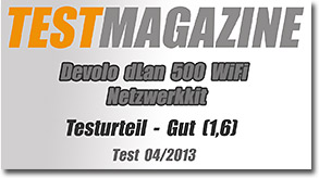testmagazine devolo dlan 500 wifi netzwerkkit im praxistest. Black Bedroom Furniture Sets. Home Design Ideas
